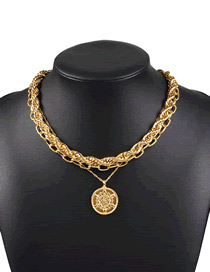 Fashion Golden Round Bead Embossed Thick Chain Alloy Multilayer Necklace