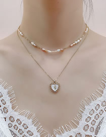 Fashion Golden 14k True Gold Plated Love Freshwater Mother-of-pearl Double Layer Necklace