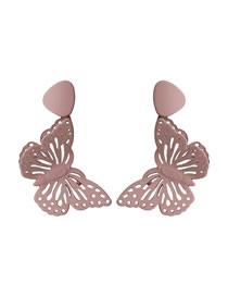 Fashion Dark Powder Three-dimensional Double-painted Butterfly Hollow Earrings