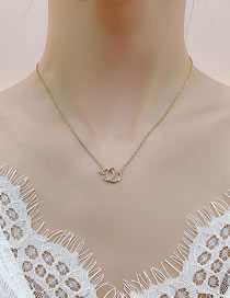 Fashion Golden Cross Necklace With Letters And Diamonds