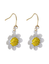 Fashion Ear Hook Flower-set Diamond Contrast Alloy Earrings