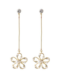 Fashion Golden Pearl And Diamond Hollow Flower Alloy Earrings