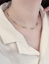 Fashion Color Mixing Transparent Crystal Beaded Alloy Necklace