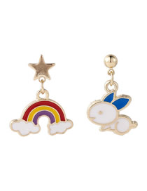 Fashion Blue Rainbow Rabbit Asymmetrical Oil Drop Pentagram Earrings