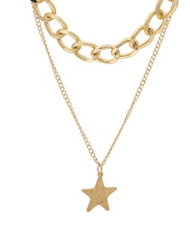 Fashion Golden Geometric Five-pointed Star Multi-layer Necklace