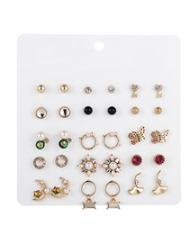 Fashion Color Mixing Pearl Diamond Flower Moon Butterfly Alloy Earrings Set