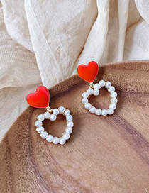Fashion Red Double Love Dropping Hollow Alloy Imitation Pearl Earrings