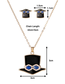 Fashion Hat Dropped Oil Color Geometric Alloy Earring Necklace Set