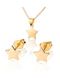 Fashion Golden Five-pointed Star Gold-plated Necklace Earring Set