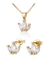 Fashion Golden Gold-plated Zircon Geometric Earring Necklace Set