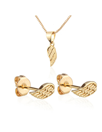 Fashion Golden Gold-plated Wings Earring Necklace Set