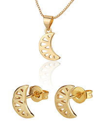 Fashion Golden Hollow Flat Gold Plated Moon Earring Necklace Set