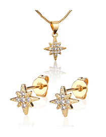 Fashion Golden Octagon Star Gold Plated Diamond Earring Necklace Set