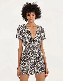 Fashion Black Daisies Printed Tether Bow V-neck Jumpsuit