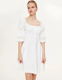 Fashion White Cotton Solid Color Square Collar Puff Sleeve Dress