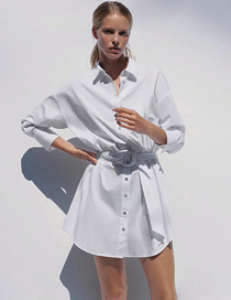 Fashion White Single-breasted Shirt Skirt With Poplin And Belt