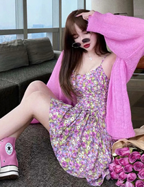 Fashion Floral Floral Pleated Irregular Camisole Dress