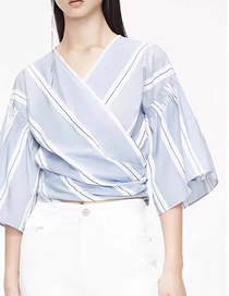Fashion Stripe Banded Bow Elasticated Flare Sleeve Striped Top