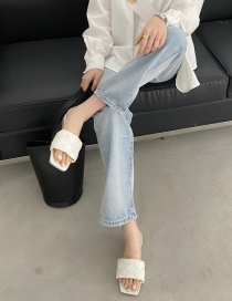 Fashion White Woven Square Head Flat Toe Open Sandals And Slippers