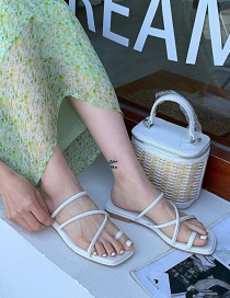 Fashion White Flat Toe Flat Sandals With Thin Straps