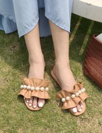 Sandalias Planas Con Volantes De Perlas
