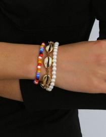 Fashion Golden Shell Imitation Pearl Contrast Color Pearl Beads Geometric Handmade Bracelet Set