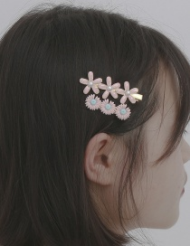 Fashion Pink Three-dimensional Small Daisy Oil Drop Hairpin Set