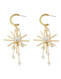 Fashion Golden Crystal Sun Flower Fringed Pearl Alloy Earrings