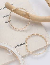 Fashion White Crystal Circle Wave Pattern Alloy Earrings