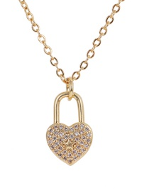 Fashion Golden Copper Inlay Zircon Love Lock Necklace