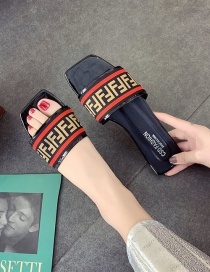 Fashion Black Lettered Square Head Flat Sandals And Slippers