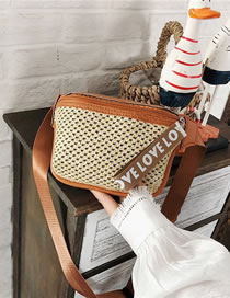 Fashion Brown Shoulder Crossbody Bag In Straw Print Letters