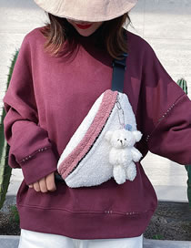 Fashion Pink Lambswool Stitching Contrast Color Shoulder Crossbody Chest Bag