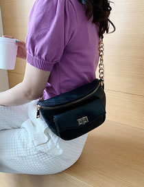 Fashion Black One-shoulder Cross-body Chest Bag With Lock Chain