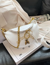 Fashion White Chain Embroidered Bee Chain Shoulder Bag