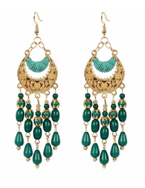 Fashion Green Crescent Shaped Resin Alloy Hollow Earrings
