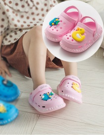 Fashion Pink Duck Fish Non-slip Ducks Hit Color Animal Childrens Hole Sandals And Slippers