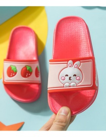 Fashion Watermelon Red Strawberry Rabbit Bear Biscuits Strawberry Rabbit Contrast Color Childrens Sandals And Slippers