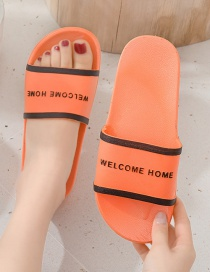 Fashion Female Orange Orange Letter Printing Contrast Color Non-slip Sandals And Slippers (one Size Larger)
