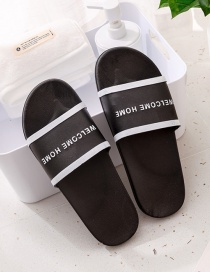 Fashion Male Black Letter Printing Contrast Color Non-slip Sandals And Slippers (one Size Larger)