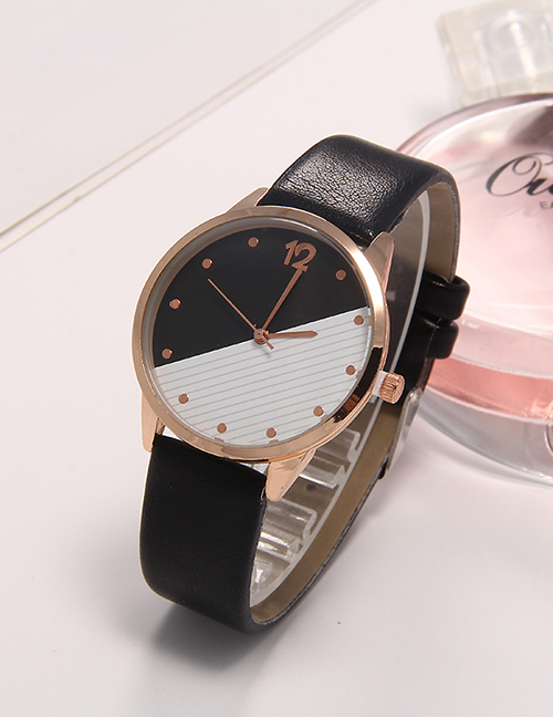 Fashion Black Contrast Leather Strap Quartz Ladies Watch