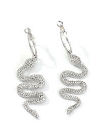Fashion Silver Metal Diamond Serpentine Earrings
