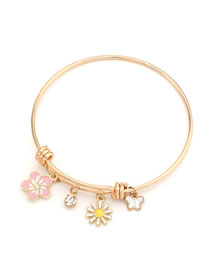 Fashion Golden Dripping Butterfly Small Flower Circle Alloy Bracelet