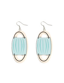 Fashion Blue Roll Paper Double-sided Printing Mask Pu Leather Earrings