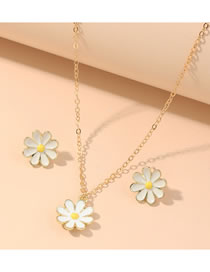 Fashion White Oil Dropping Daisy Alloy Earring Necklace Set
