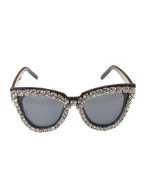 Fashion White Anti-uv Radiation Rhinestone Big Frame Sunglasses