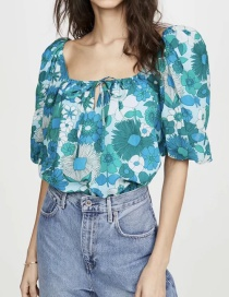 Fashion Blue Puff Sleeve Tethered Square Collar Short Top
