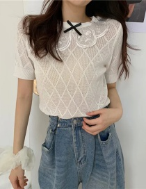 Fashion White Embroidered Collar Diamond Short-sleeved Top