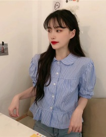 Fashion Blue Doll Collar Single Breasted Stitching Short Sleeve Top