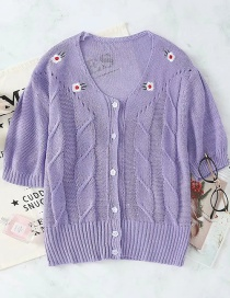 Fashion Purple Embroidered Flower Short-sleeved Breasted Cardigan Top